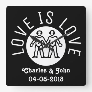 Love is Love Typography Gay Pride LGBT Black White Wallclock