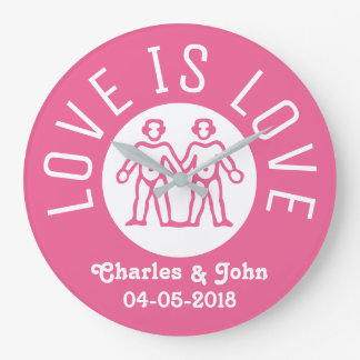 Love is Love Typography Gay Pride LGBT Couple Pink Wall Clocks