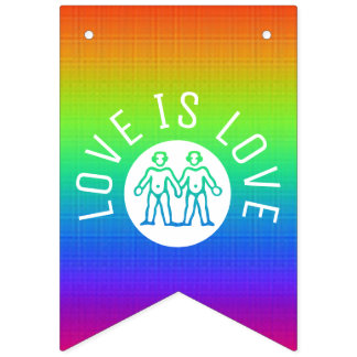 Love is Love Typography Gay Pride LGBT Rainbow Bunting Flags