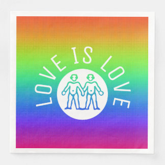 Love is Love Typography Gay Pride LGBT Rainbow Paper Napkin