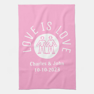 Love is Love Typography Logo Gay Pride LGBT Pink Kitchen Towel