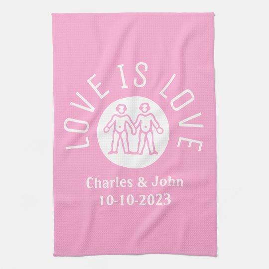 Love is Love Typography Logo Gay Pride LGBT Pink Kitchen Towel