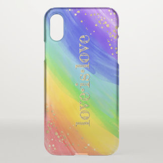 Love is Love Typography Watercolor Gold & Rainbow iPhone X Case