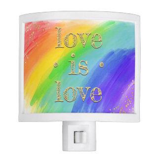 Love is Love Watercolor Rainbow Colorful LGBT Nite Lite