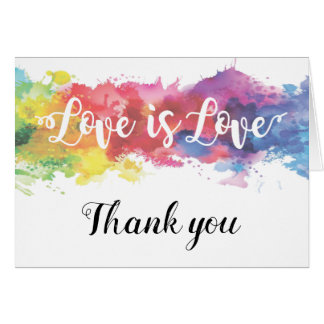 Love is Love watercolor rainbowl thank you note Card