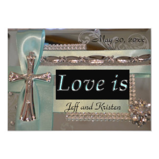 Love is... Mint and Silver Wedding Invitation