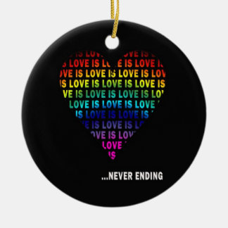 LOVE IS... NEVER ENDING ROUND CERAMIC ORNAMENT