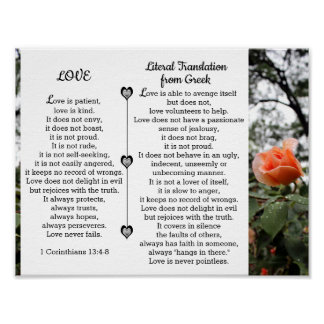 Love is Patient 1 Corinthians 13:4-8 Poster