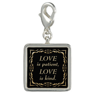 Love is Patient and Kind Gold Christian Charm