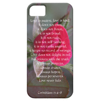 Love is Patient, Corinthians, Red Rose Bud iPhone 5 Cover
