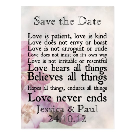 Love is Patient Purple Flower Save the Date Card