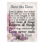 Love is Patient Purple Flower Save the Date Card Post Card