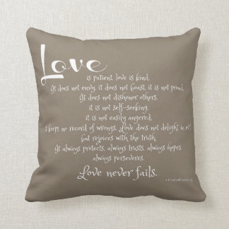 Love is Patient (scripture verse) white on taupe Throw Pillow