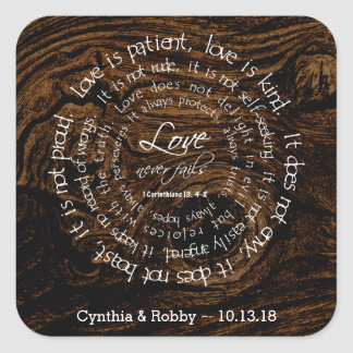 Love is Patient Wood Grain Circular Text Wedding Square Sticker