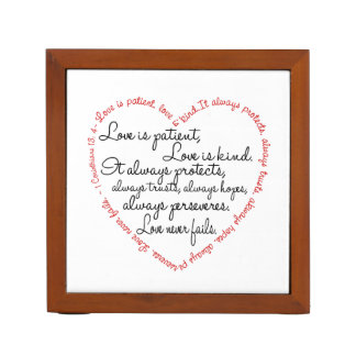 Love is Patient Word Heart Desk Organizers