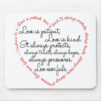 Love is patient Word Heart Mouse Pad