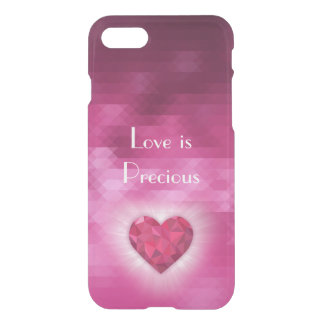 """Love is Precious"" Pink Diamond Heart Transparent iPhone 7 Case"