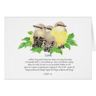 Love is- Scripture Cor: 13 Cute Cuddling Kingbirds Card