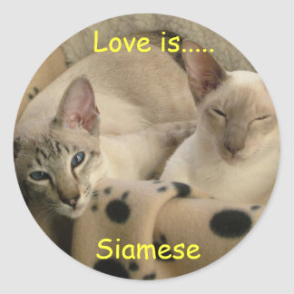 Love is....., Siamese Round Sticker