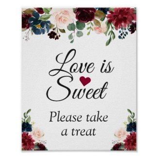 Love is Sweet Burgundy Blush Blue Floral Sign