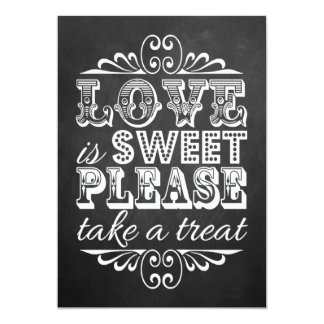 "Love Is Sweet - Chalkboard Wedding Sign 5"" X 7"" Invitation Card"