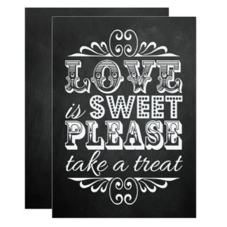 Love Is Sweet - Chalkboard Wedding Sign Card