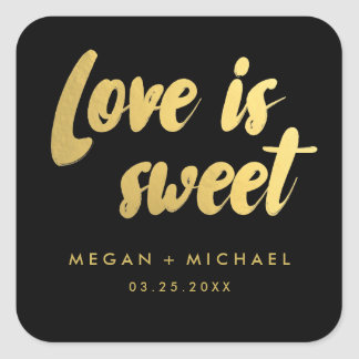 Love is sweet favor sticker | gold and black
