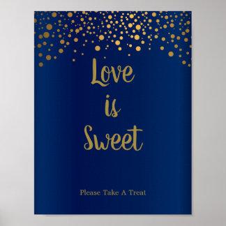 Love is Sweet - Gold Confetti Dots - Dark Blue Poster
