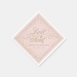 """Love is Sweet"" Gold Stars Pink Wedding Napkins"