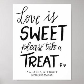 Love Is Sweet Handwritten Casual Wedding Poster