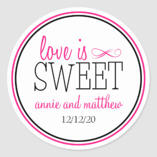 Love Is Sweet Labels (Hot Pink / Black) Round Stickers