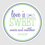 Love Is Sweet Labels (Navy Blue / Lime Green) Round Sticker