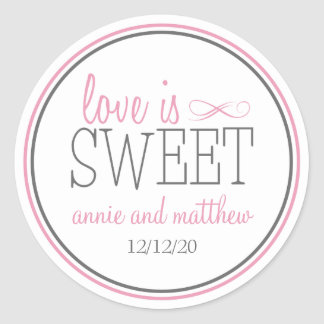 Love Is Sweet Labels Pink Gray Round Stickers