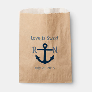 Love Is Sweet Nautical Anchor Wedding Navy Blue Favour Bag