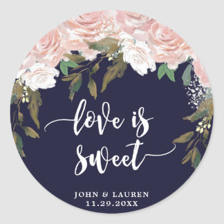 love is sweet Navy pale pink favor stickers