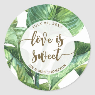 love is sweet palm leaves tropical favor sticker