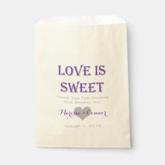 Love Is Sweet Purple Wedding Bags