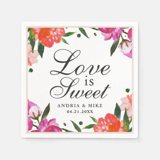 Love is Sweet | Tropical Watercolor Flowers Paper Napkin