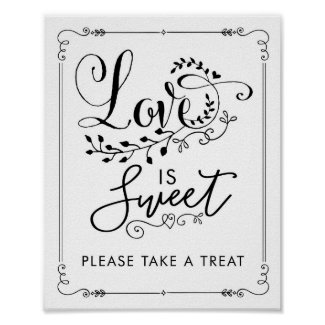 Love is Sweet Vintage Botanical Wedding Favour Poster
