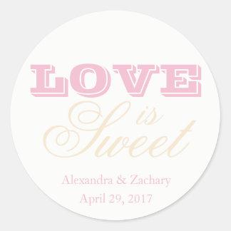 Love is Sweet Wedding Favour Sticker Blush