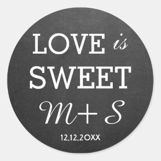 Love Is Sweet Wedding Favours Chalkboard Monogram Round Sticker