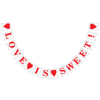 LOVE IS SWEET! WEDDING SIGN DECOR BUNTING FLAGS