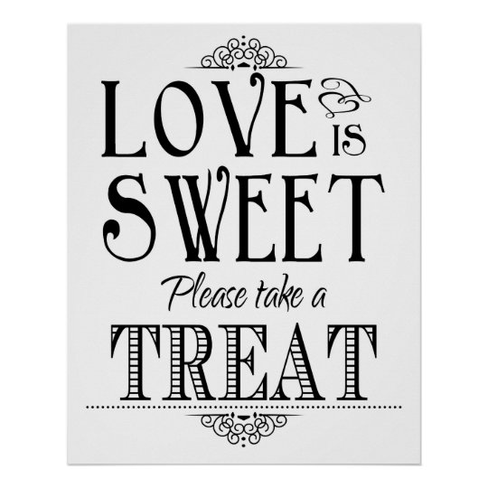Love is sweet wedding sign poster | Zazzle.ca