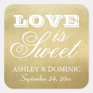 Love is Sweet Wedding Sticker | Gold Foil