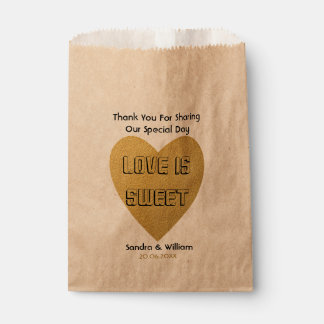 Love Is Sweet Wedding Thank You Gold Heart Favour Bag
