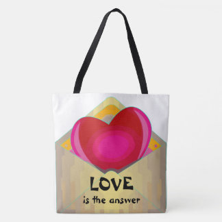 LOVE is the answer Cute Heart Design Tote Bag