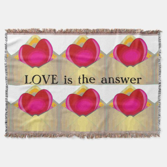 LOVE is the answer Hearts Design Throw Blanket