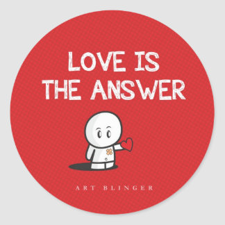 Love is the answer round sticker