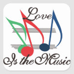 Love is the Music Square Sticker