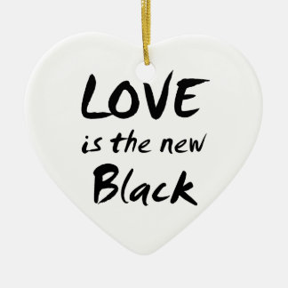 Love is the New Black Ceramic Heart Ornament